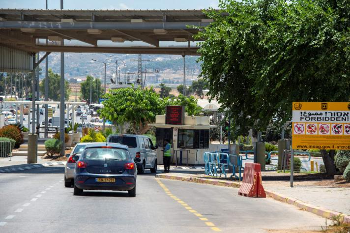 Cars waiting at the Al-Jalama checkpoint near Jenin in the West Bank, July 2019. Credit: Gil Eliahu [Haaretz]