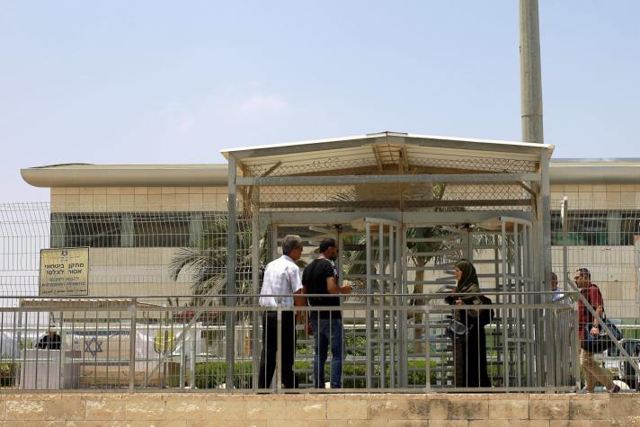 Palestinians outside the Erez Gaza crossing, June 23, 2019Credit: Ilan Assayag [Haaretz]